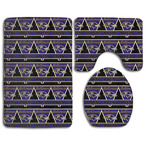 Marrytiny Design Colorful Non Slip 3 Piece Doormat American Football Team Baltimore Ravens Anti-Skid Bathroom Rug Set Bath Mat + Contour Rug + Toilet Lid Cover
