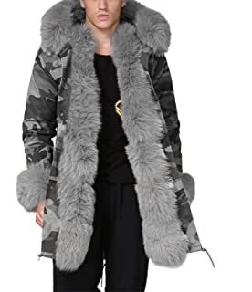 Aox Mens Casual Faux Fur Hood Thicken Winter Coat Lightweight Snow Jacket Parka