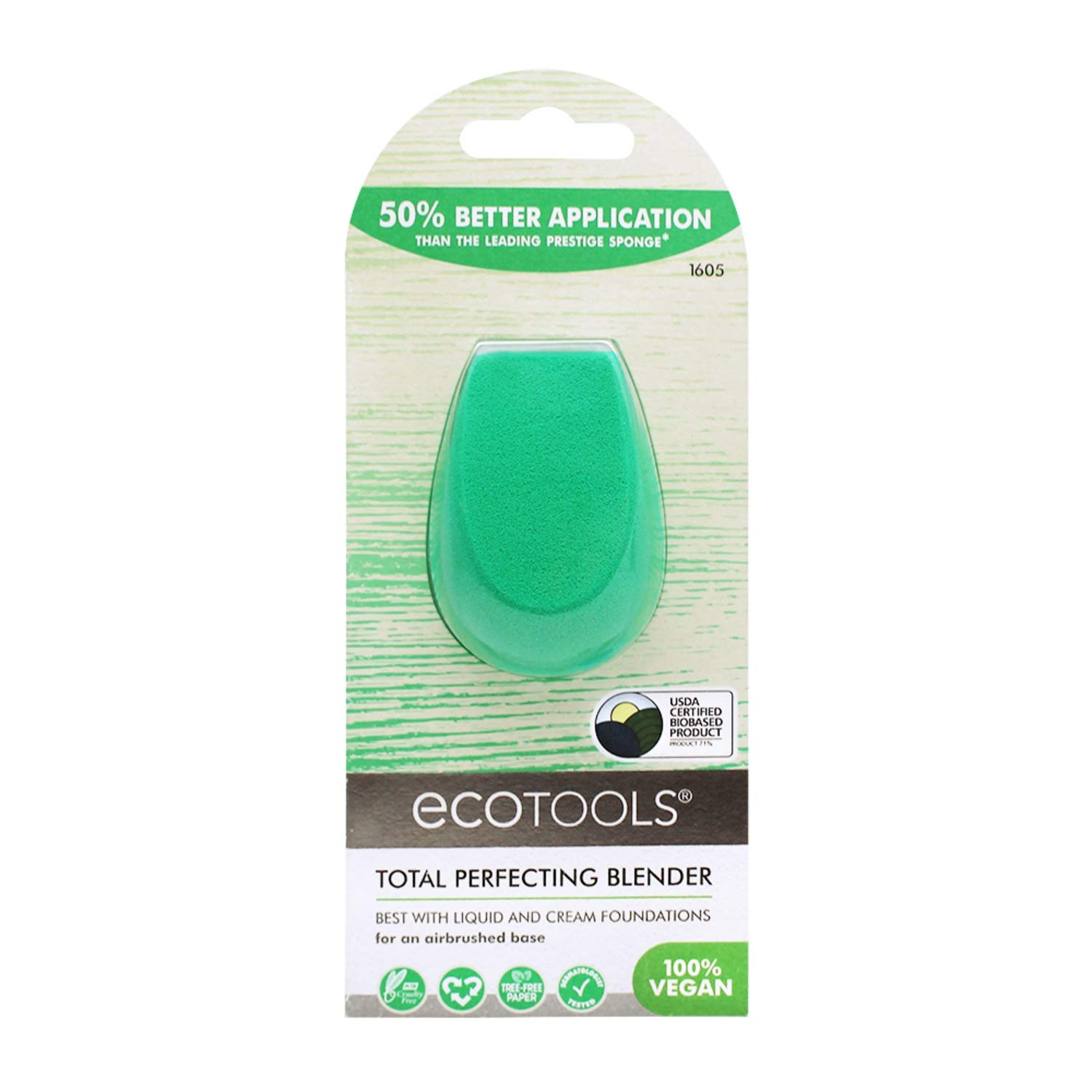 Ecotools Perfecting Sponge Makeup Blender, Beauty Sponge, Made with Recycled and Sustainable Materials