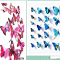 Amaonm® 24pcs 3d Vivid Special Man-made Lively Butterfly Art DIY Decor Wall Stickers Decals Nursery Decoration, Bathroom Décor, Office Décor, 3d Wall Art, 3d Crafts for Wall Art Kids Room Bedroom Living Room Decor