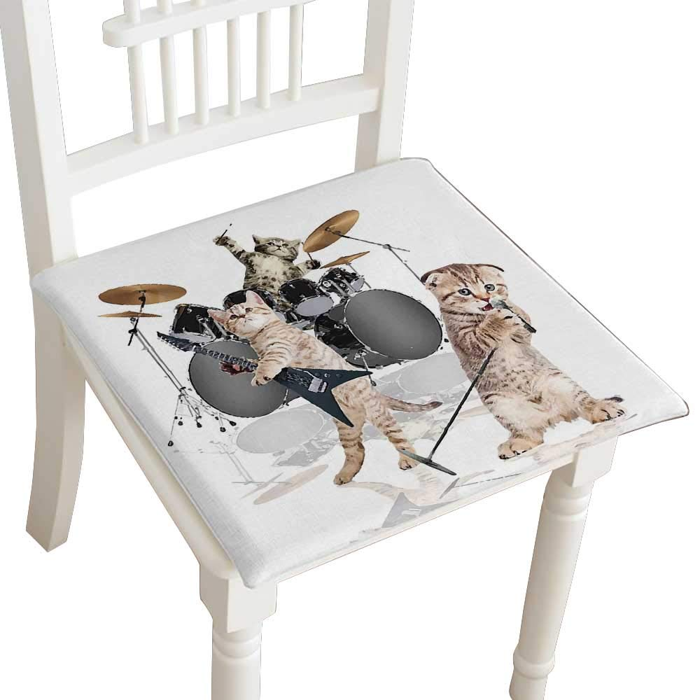 HuaWuhome Dining Chair Pad Cushion Animal Cool Fancy Hard Cute Rocker Band of Kittens with Singer Fashions Indoor/Outdoor Bistro Chair Cushion 30''x30''x2pcs