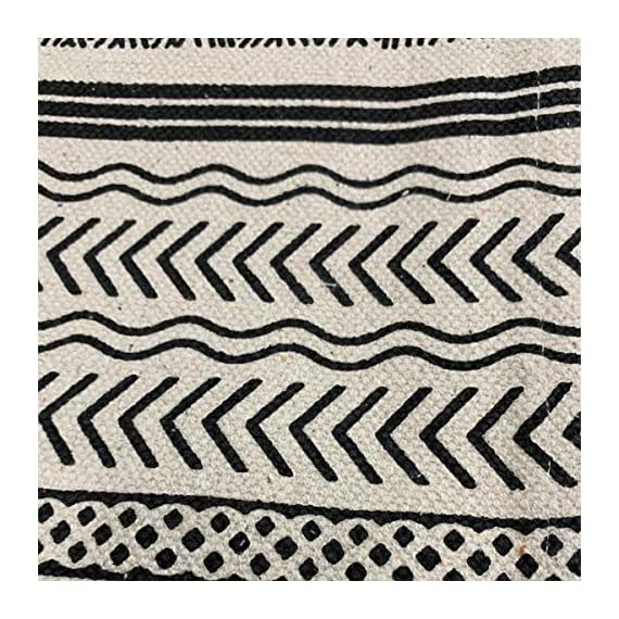 2' x 6' Runner Off-White and Black Batik Pattern Printed Cotton Small Runner Rug, Carpet or Mat - Off-White and Black batik pattern printed cotton small rug. Made in India. Thin flat woven construction. 100% woven cotton. Great housewarming gift or present or entry, kitchen and bathroom mat. - runner-rugs, entryway-furniture-decor, entryway-laundry-room - 613Tq6LmHuL. SS570  -