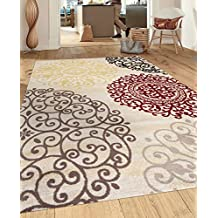 "Rugshop Contemporary Modern Floral Indoor Soft Area Rug, 5'3"" x 7'3"", Cream"
