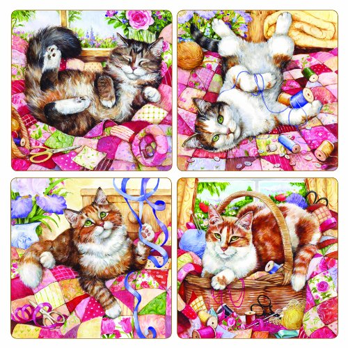 Crafty Cats - CoasterStone AS2665 Absorbent Coasters, 4-1/4-Inch, Crafty Cats, Set of 4