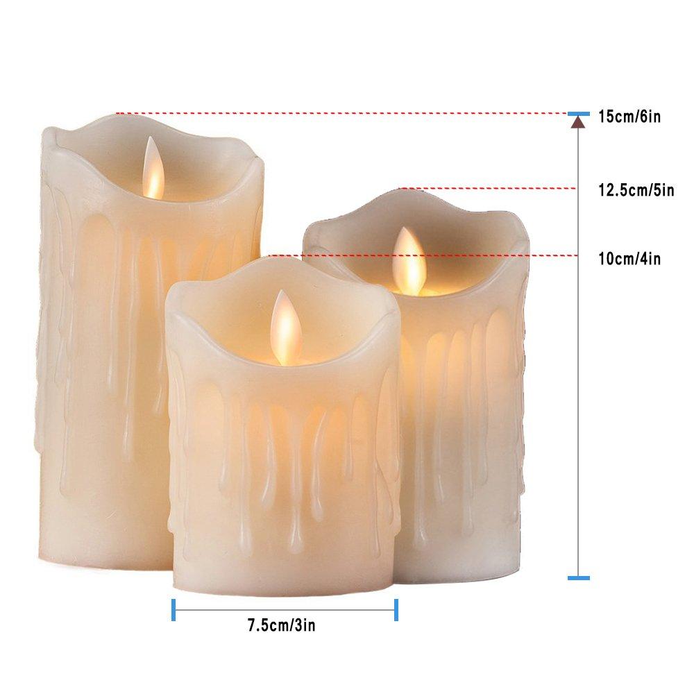 Batteriebetriebene Kerzen Mit Beweglicher Flamme.Hichili 2er Set Flammenlose Led Kerzen Echtwachskerze Mit Beweglicher Flamme Timerfunktion Mit Fernbedienung Elektrische Batteriebetriebene Kerze