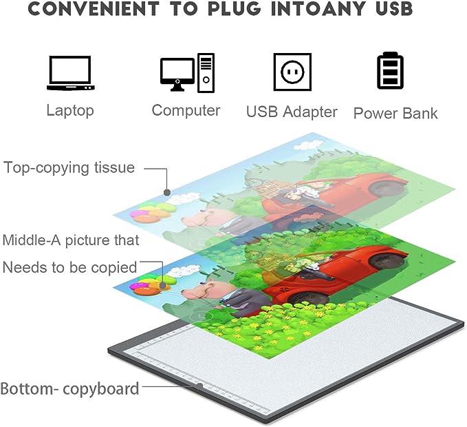 formato A4 Copia disegno portatile Traccia Light Box Luce USB alimentata con luminosit/à Schizzo regolabile Vernice Guarda raggi X per artisti Disegno Tavolo da disegno a LED Tavolo da disegno A4