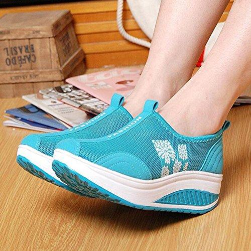tama temblorosos Zapatos sacudir 40 Casuales de de Plataforma Malla de Gruesa Mujeres Suela de Zapatos Transpirables o Deportivos Zapatos Azul Las Verano Color 2018 Zapatos de 7pqgW8