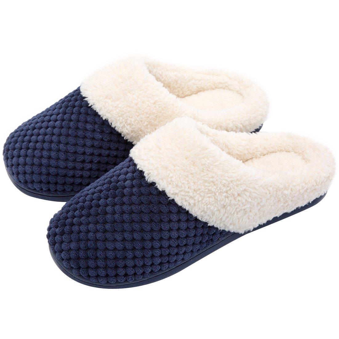 ULTRAIDEAS Women's Soft Gridding Coral Velvet Short Plush Lining Slip-on Memory Foam Clog Indoor Slippers (Medium / 7-8 B(M) US, Navy Blue)