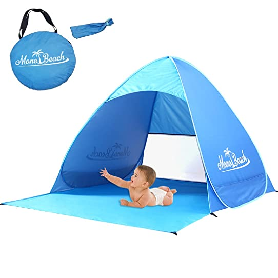 MonoBeach Portable Baby Beach Tent Pop Up Sun Shelter For 2 3 Person Blue