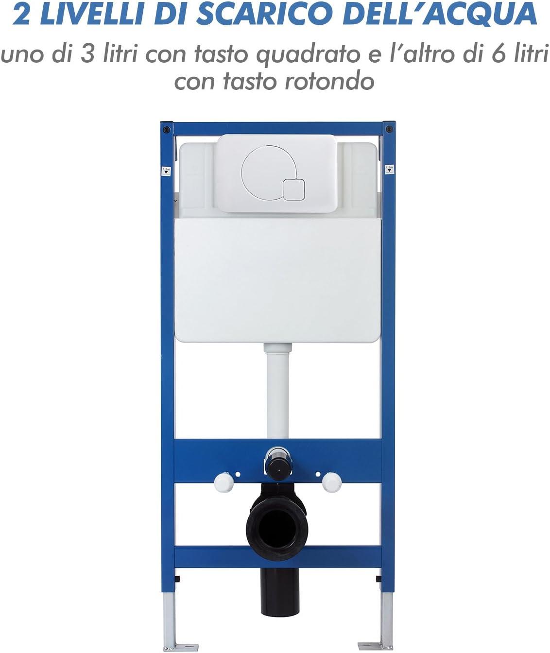 homcom Cassetta di Risciacquo per WC a Parete capacit/à 7 Litri 107 /× 51 /× 9.5cm