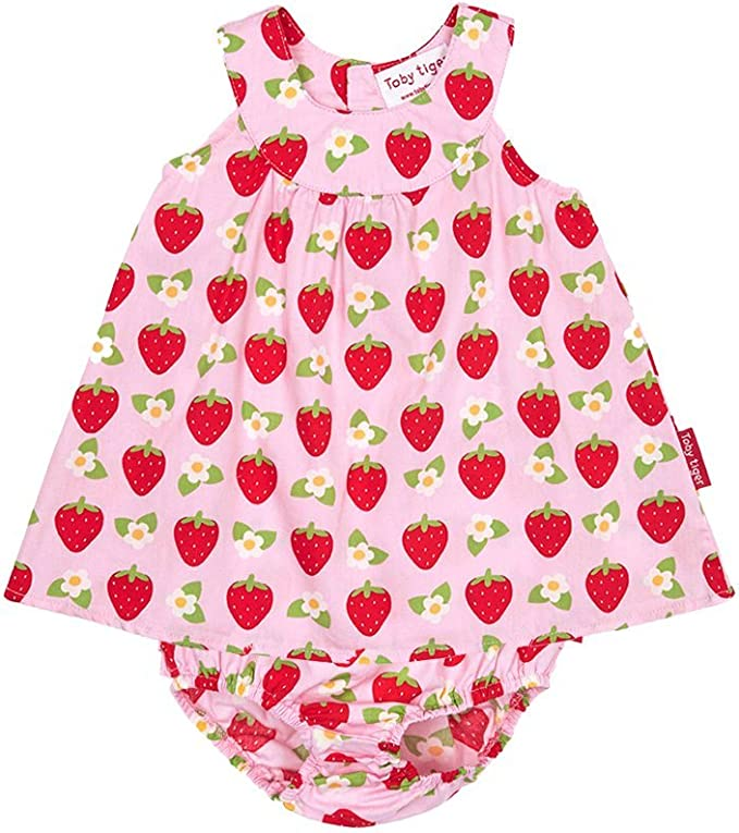 Toby Tiger M/ädchen Pink Strawberry Baby Dress /& Pants Kleid