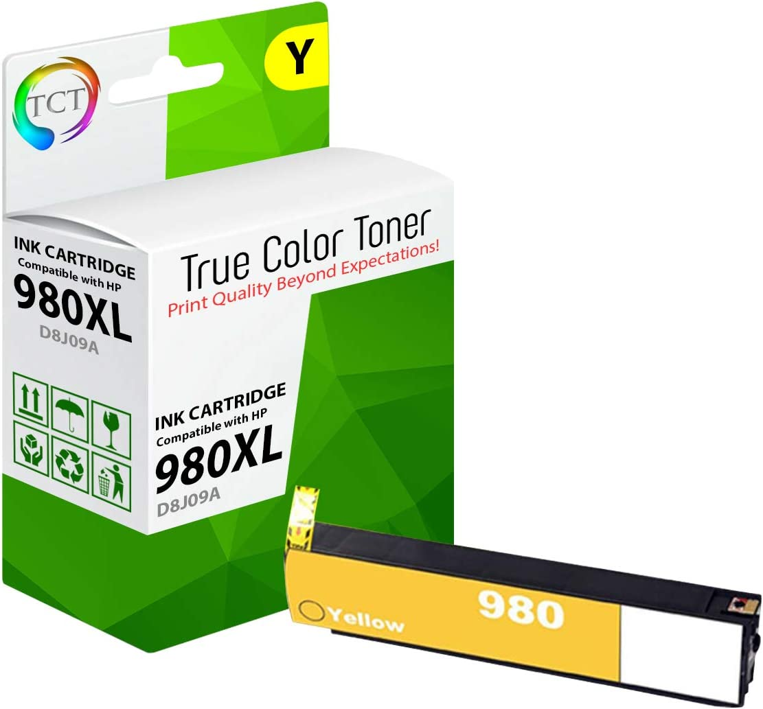 TCT Compatible Ink Cartridge Replacement for HP 980 Works with HP OfficeJet Enterprise X555dn X555xh X585dn X585f X585z Printers 4 Pack Black D8J10A, Cyan D8J07A, Magenta D8J08A, Yellow D8J09A