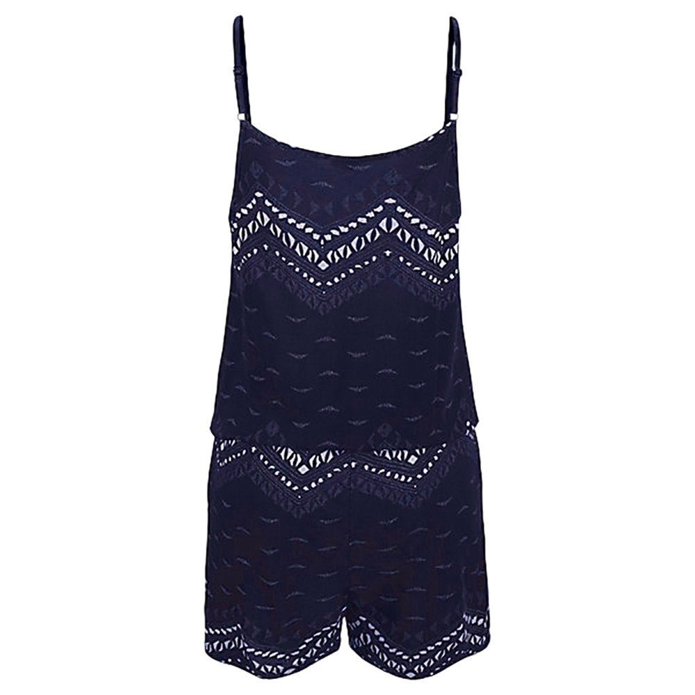 Women Casual Summer Spaghetti Strap Elastic Waist Drawstring Cami Short Beachwear Jumpsuit Romper