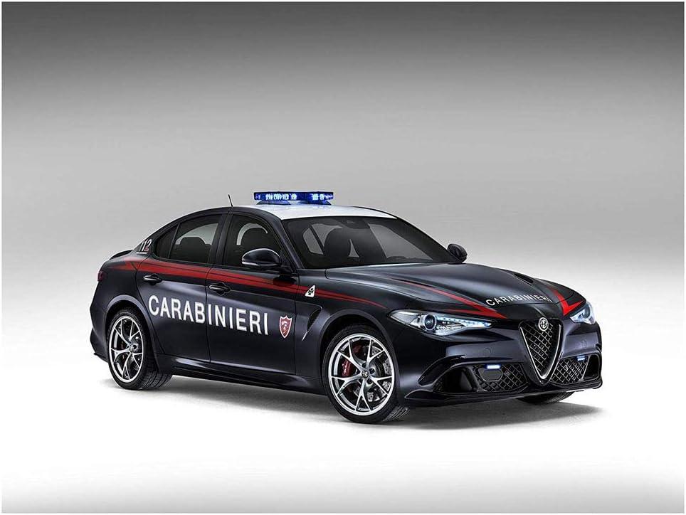 "Alfa Romeo Giulia Quadrifoglio Carabinieri (2016) Car Print on 10 Mil Archival Satin Paper Black Front Side Studio View 11""x17"""