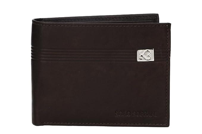 fa7855f782 Mini portafoglio uomo SOLO SOPRANI moro in pelle con portamonete e patta  AP58: Amazon.it: Abbigliamento