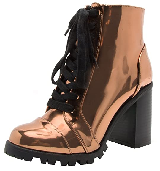Qupid Women's Lace Up Closed Round Toe Chunky Stacked Block Heel Ankle Bootie by Qupid
