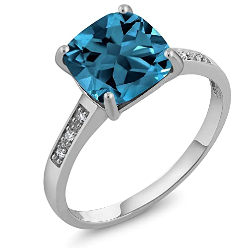 Gem Stone King 10K White Gold London Blue Topaz and Diamond Ring 2.74 Ctw Cushion Cut Available 5,6,7,8,9