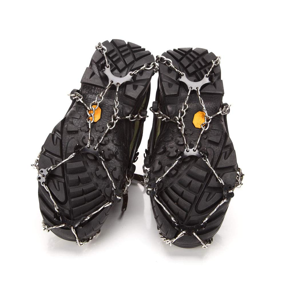 Lixada Snow Grippers Shoes Ice Creepers Ice Traction Cleats Easy Over Anti-Slip 8-Teeth Claw Crampons Outdoor Skiing Climbing Snow Shoes Chains