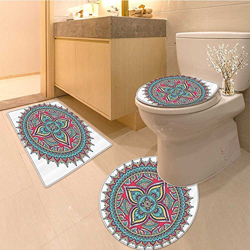 Collection Kaleidoscope Rugs (3 Piece large Contour Mat set Collection Flora Pattern with Kaleidoscope Art Ethnic Theme Zen Fabric with Hooks Or Bathroom Rugs Contour Mat Lid Toilet Cover)