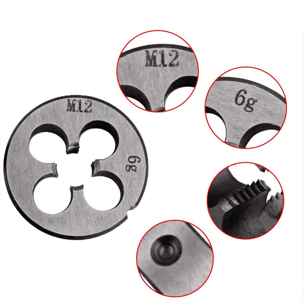 redondo Troquel de rosca para m/áquina de troquelar M12 x 1,0 mm mano derecha 12 mm x 1 m/étrico