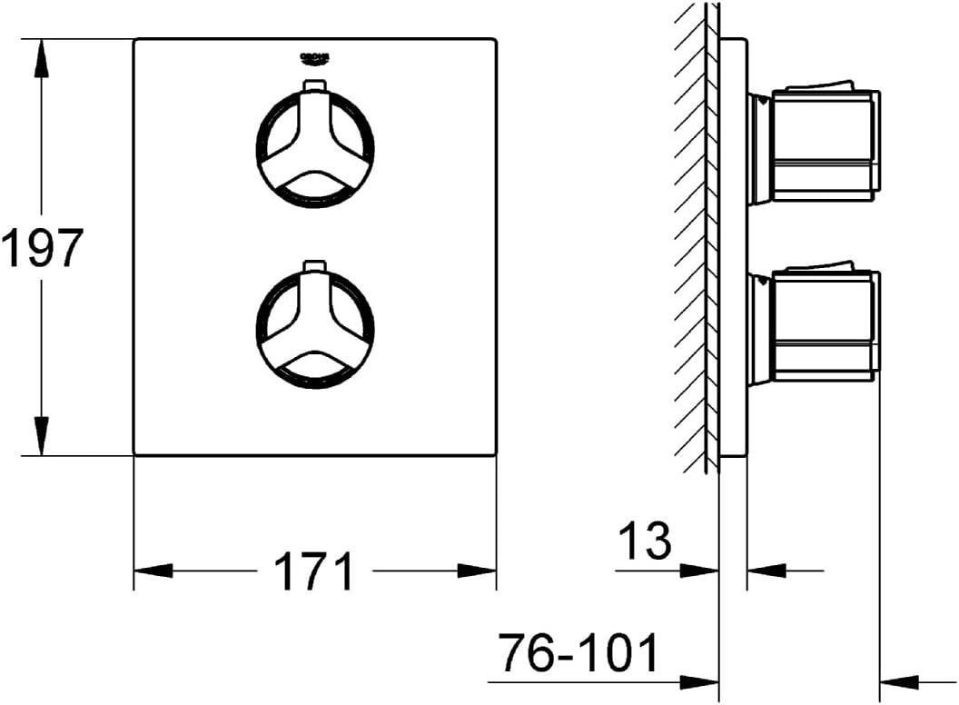 Grohe Grohtherm 2000 19354001 Miscelatore Termostatico per Doccia Cromo Vecchio Modello