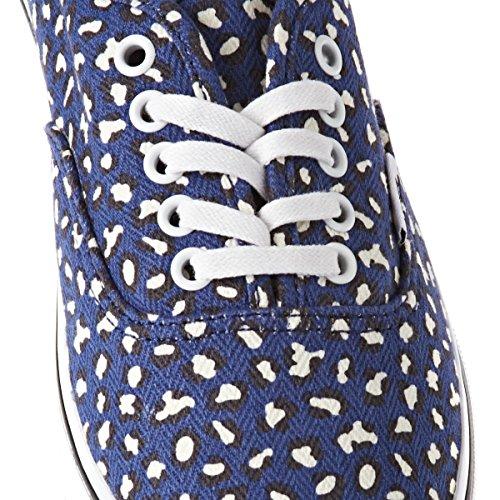 Vans Authentic Lo Pro Print Shoe - Womens (Herringbone Leopard) Twilight Blue, Mens 5.0/Womens 6.5