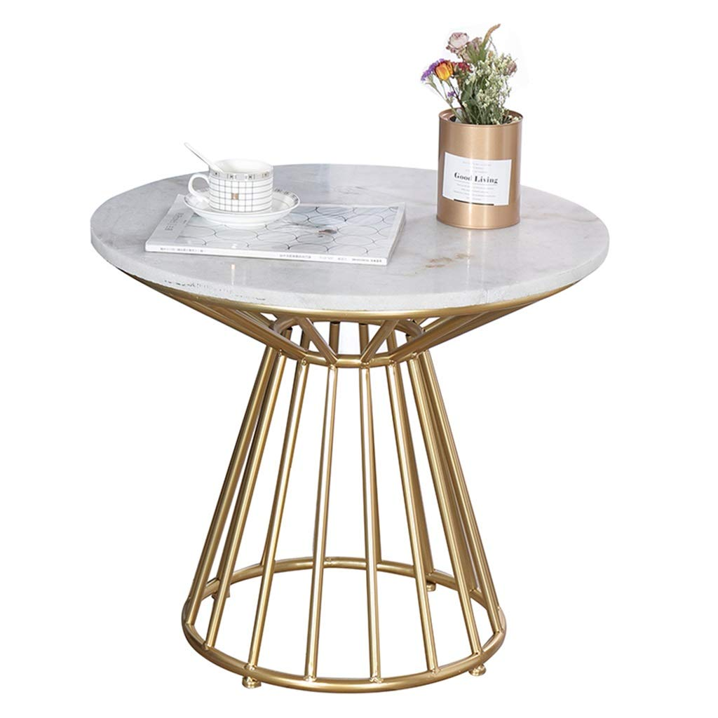 LQQGXLBedside Table Coffee Table Living Room Sofa Bedroom Balcony Corner Table Gold Metal Frame Small Side Table by LQQGXL