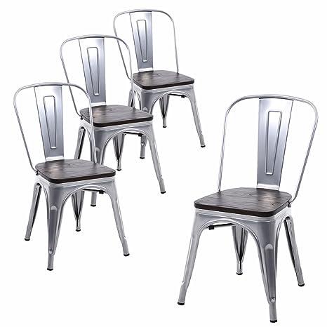 Amazon.com: Buschman sillas de hierro de estilo Tolix de ...
