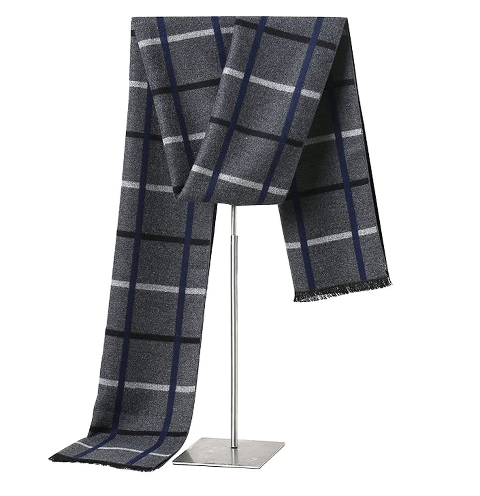 MuNiSa Men's Winter Scarf Plaid Stripes Long Cashmere Scarves with Tassel(Grey Grid)
