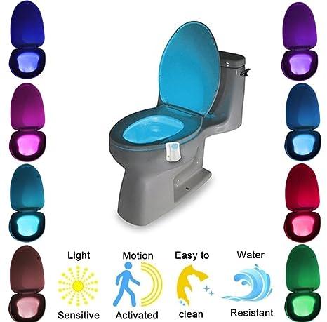 ht4you Tapa de inodoro Luz nocturna LED Lámpara de luz 8 colores Asiento iluminación con sensor