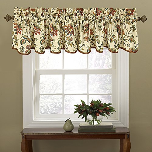 """WAVERLY Valances for Windows - Felicite 50"""" x 15"""" Short Curtain Valance Small Window Curtains Bathroom, Living Room and Kitchens, Creme"""