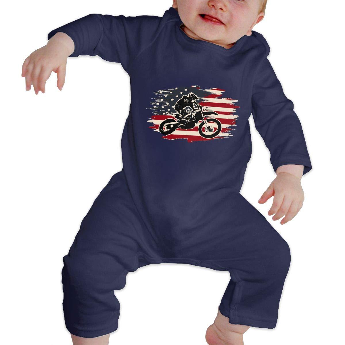 Q64 Baby Boys Round Collar Dirt Bike Motocross American Flag Long Sleeve Pajamas Sleepwear 100/% Cotton Suit 6-24 Months