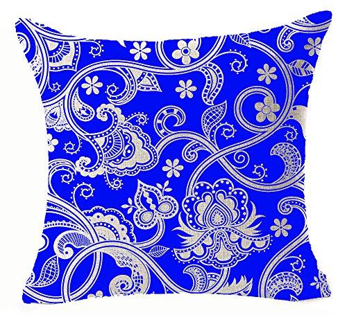 Retro Style Blue And White Porcelain Bohemian Floral Design Blue Background Cotton Linen Decorative Throw Pillowcase Cushion Cover Square 18