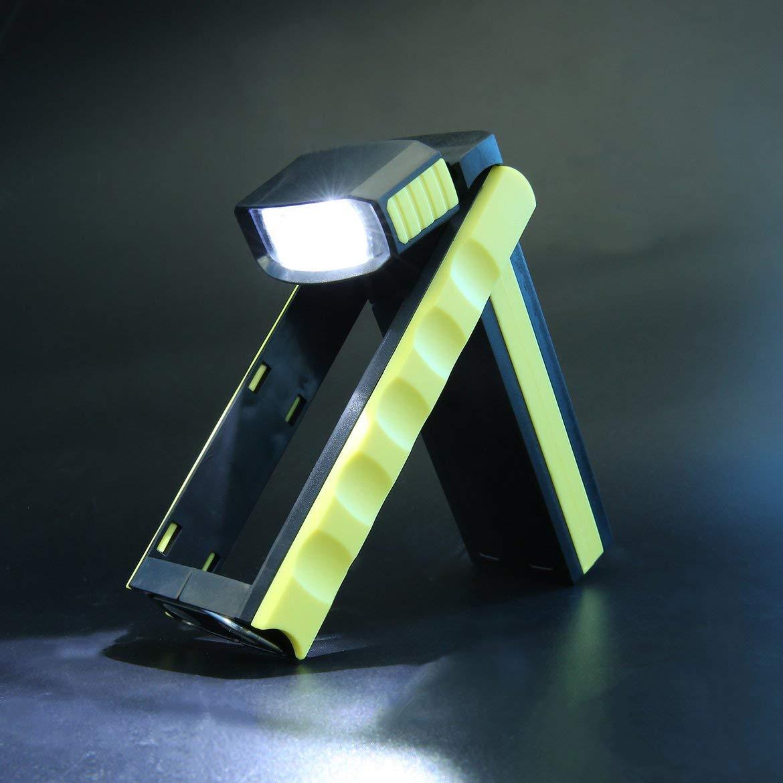 JohnJohnsen S/úper Brillante COB LED Soporte de Trabajo magn/ético Luz de Gancho Colgante Linterna Al Aire Libre Bater/ía de Litio Brillante Luz de Trabajo multiprop/ósito Amarillo