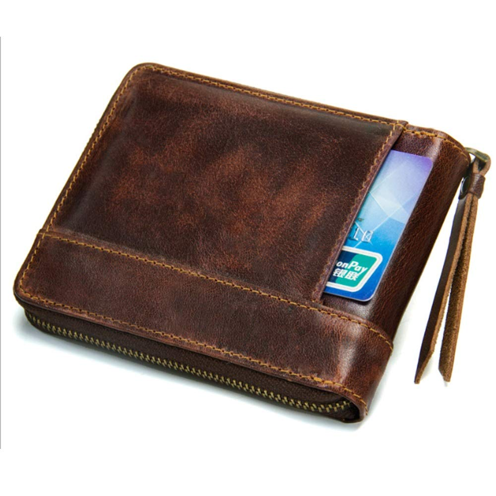 Color : Brown, Size : S Rouroumaoyi Mens Wallet Leather Short Section Mad Cowhide Zip Coin Purse