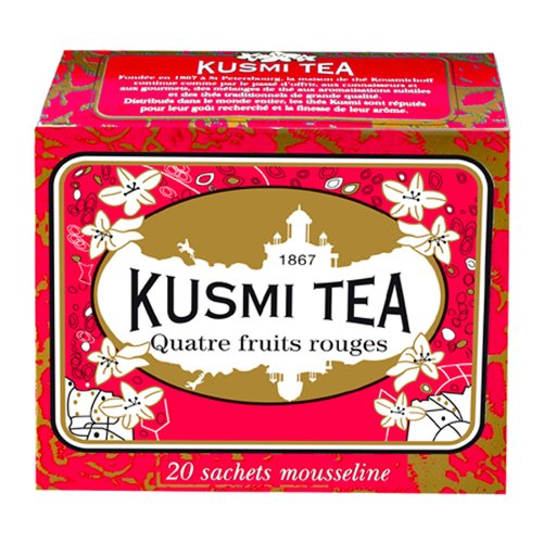 Kusmi Tea Four Red Fruits Black Tea - Raspberries, Strawberries, Redcurrants, and Cherry Infusion Feel Relaxed and Pleasure Perfect for Afternoon Tea (20 Muslin Tea Bags 20 Servings)