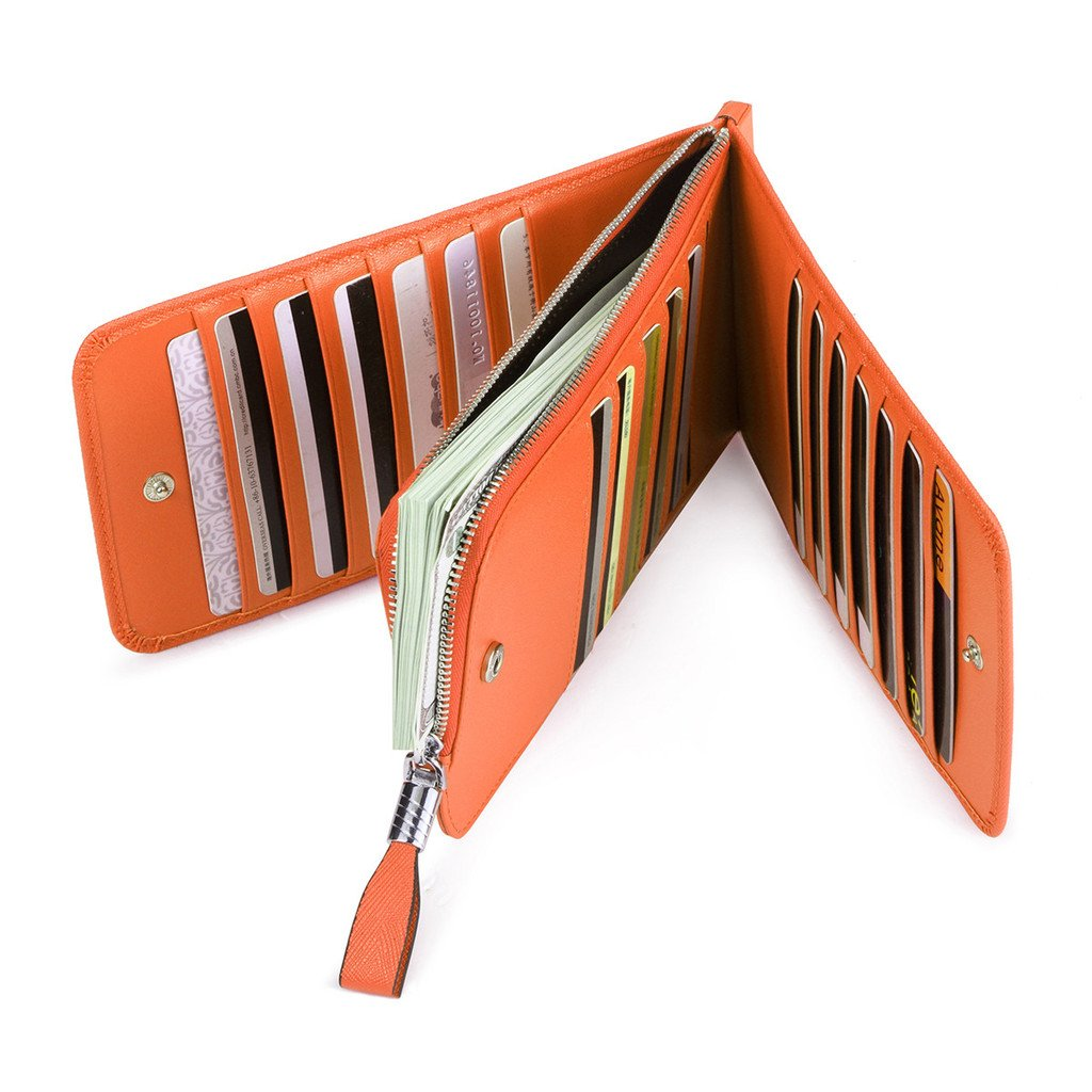 JEEBURYEE Women's Genuine Leather Multi Credit Card Holder Wallet RFID Blocking Long Bifold Clutch Wallet Ladies Purse with Zipper Pocket Orange by JEEBURYEE (Image #5)