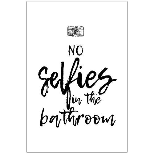 Amazon Com No Selfies Bathroom Humor Wall Art Handmade