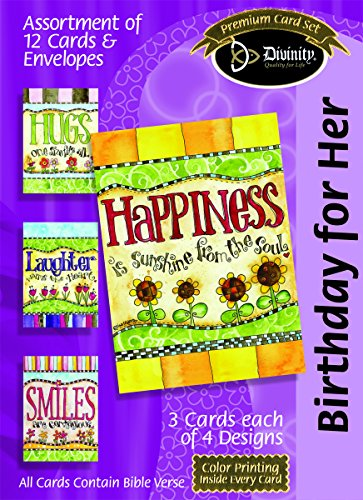 Divinity Boutique Greeting Card Assortment: Birthday for Her, Happiness with Scripture (21551N)