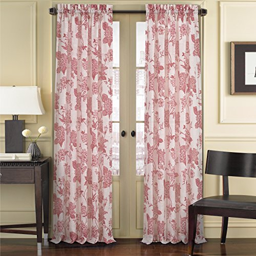Five Queens Court April Floral Toile Print Sheer Curtain Window Panel 50x63 Red