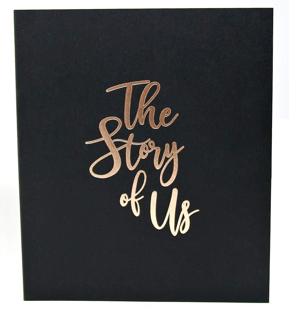 Wedding Scrapbook for Couples Scrapbook Album, Embossed Gold Foil, 8.5x7, 120 pgs. Gift for Engagement, Gift for Anniversary, Wedding Keepsake Album (Black)