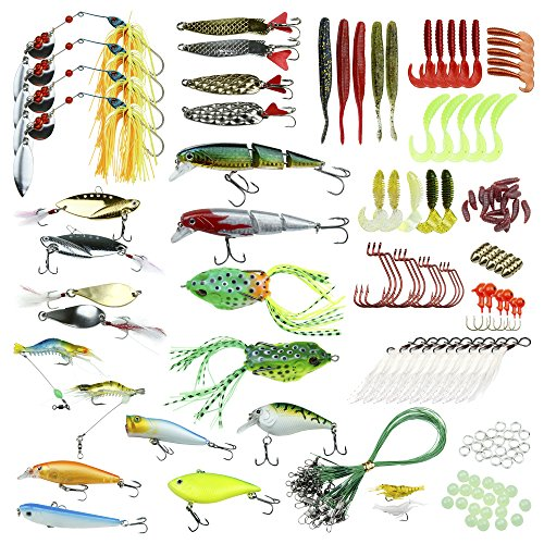 Fishing Lures Kit 180-Piece Fishing Baits Set with Tackle Box - Fishing Gear for Beginners & Professional Fishermen - Premium Fishing Jigs & Spinnerbait Accessories - Great Gift Idea]()