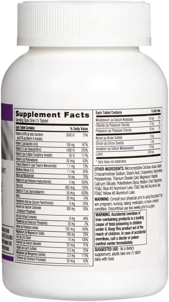 Rite Aid Central-Vite Women's Multivitamins 50 Plus - 100 Tablets | Daily Multivitamin for Women with Vitamin D
