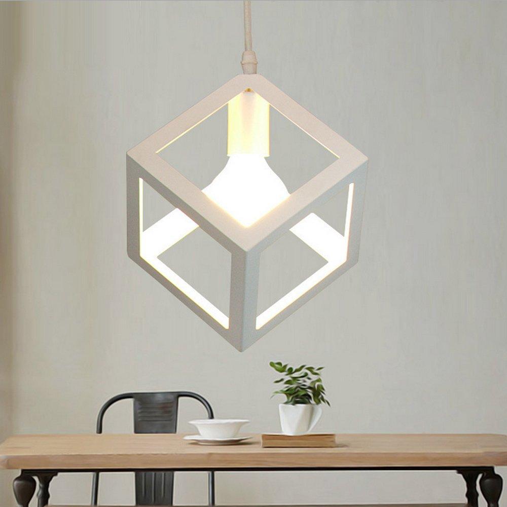 Lampe de Plafond Abat-Jour E27 STOEX M/étal Suspension Luminaire Industrielle en Barre 3 Lampes Blanc