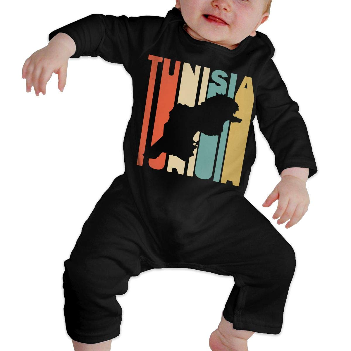 Long Sleeve Cotton Rompers for Unisex Baby Soft Retro Style Tunisia Silhouette Onesies
