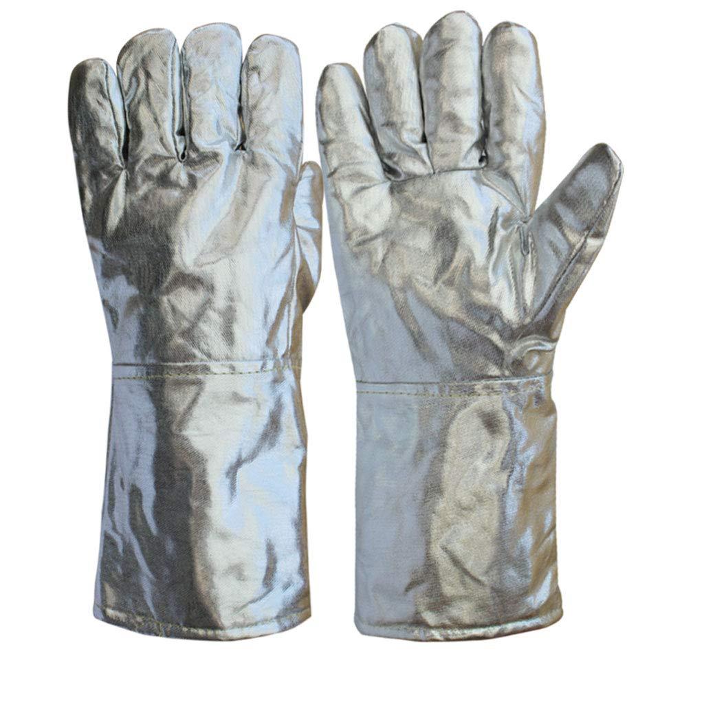 ZXW Guanti- Guanti in Alluminio, Resistente alle Alte Temperature, ignifugo, Fusione, Cinque Dita, Guanti, Anti-Incendio, 1000 Gradi (Colore : Silver, Dimensioni : L37cm)