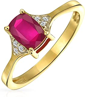 2.34CT Solitaire Emerald Cut Red Created Ruby Gemstone Zircon Band Ring 14K Gold Plated Sterling Silver July Birthstone