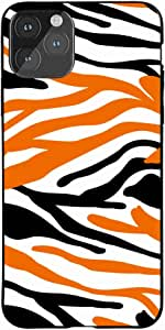 Okteq Case for iPhone 11 Pro MAX Shock Absorbing PC TPU Full Body Drop Protection Cover matte printed - zebra black orange By Okteq