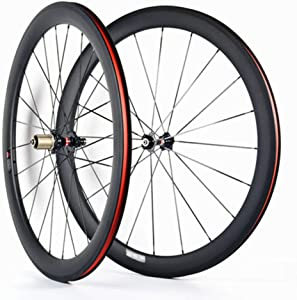 Hulk-sports 700C Bicycle Front & Rear Wheel 38mm Depth Clincher Carbon Road Bike Wheels Set 23mm Width Rim Sealed Bearing Carbon Fiber Rear Wheel for 7/8/9/10/11 Speed
