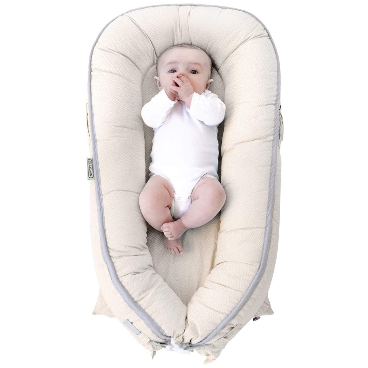 LaLaMe Organic Baby Nest Crib, Baby Lounger Pillow, Water-Resistant Co-Sleeping Newborn Bassinet, for Boys and Girls Infants, Great for Baby Shower